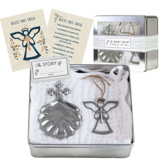 Salisbury Baptismal Shell and Baptism Angel Ornament Set
