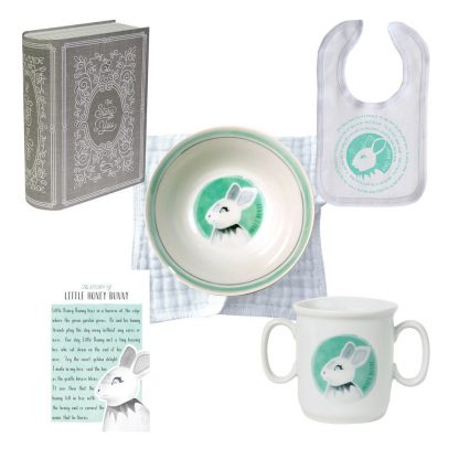 Salisbury Story of You Cup Plate Bowl Bib and Teether Set Bunny