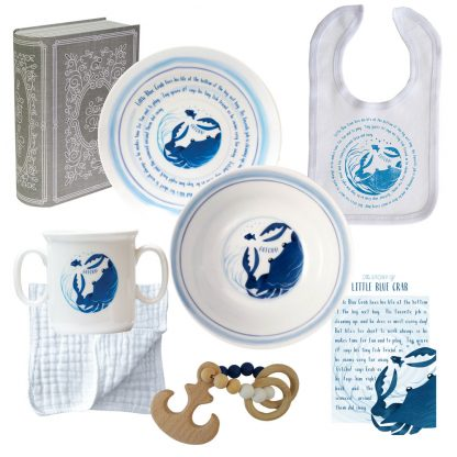 Salisbury Story of You Cup Plate Bowl Bib and Teether Set Blue Crab