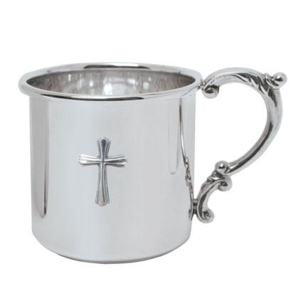 Salisbury Scroll Handle Baby Cup with Cross