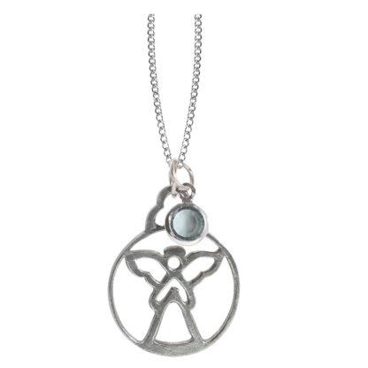 Salisbury Birthstone Angel Necklace April Diamond