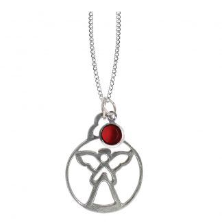 Salisbury Birthstone Angel Necklace July Ruby
