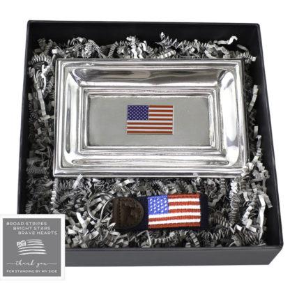 American Flag Tray and Key Fob Set