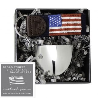 Salisbury Jefferson Jigger and American Flag Fob Set