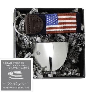 Salisbury Jefferson Jigger and American Flag Fob Set