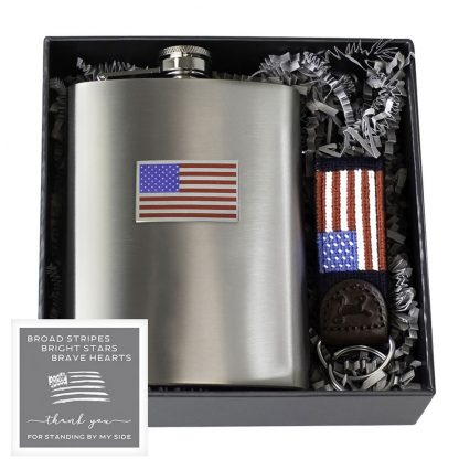 Salisbury American Flag Flask and Fob Gift Set
