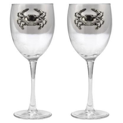 Blue Crab Wine Glasses set of 2